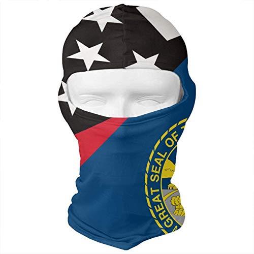 Jieaiuoo Nebraska Thin Red Line Flag Balaclava Face Mask Headwear Helmet Liner Gear Cycling Mask