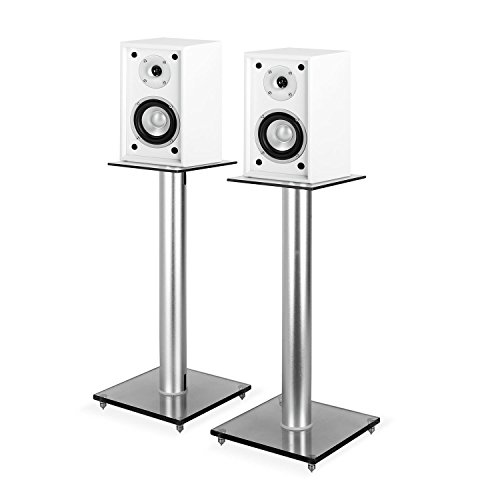 """auna HiFi Set 4-TLG Regallautsprecher + Ständer (Paar Regal-Lautsprecher, 2 Wege-Boxen, 5""""-Tieftöner, 35 Watt RMS Leistung, Aluminiumständer mit Glasplatten) weiß"""