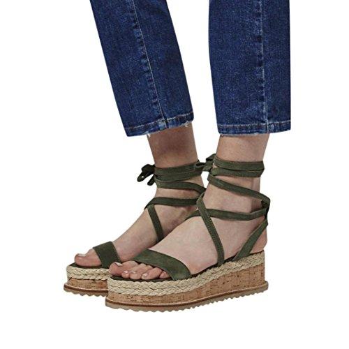 Uomogo® vintage sandali estivi scarpe con sandali donna, ragazze infradito scarpe basse aperte sandali da donna (cn:35, verde)