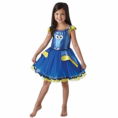 Kostüme Dory Und Nemo (Kostüm Dory Deluxe Kleid blau für Kinder Nemo Fasching Lizenzkostüm (S (3-4)