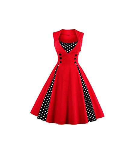 FStory Damen Vintage 50er 60er 70er kleider ärmellos Cocktailkleider Kleid Partykleider Partei Kleid Schwingenkleid (Für Partei Kleidung 70er Jahre)