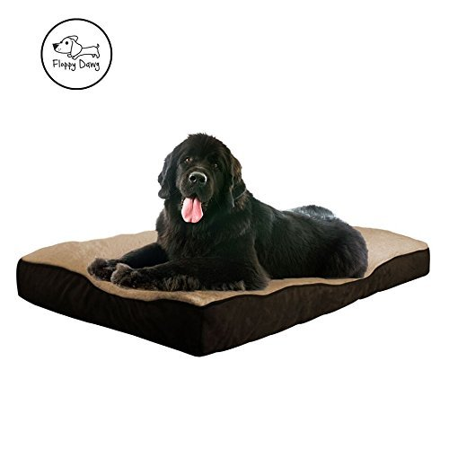 Floppy Dawg Extra-Large Dog Bed with Removable Cover and Waterproof Liner | Beige-Brown For Dogs Over 40kgs