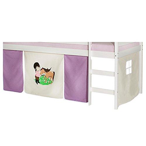 IDIMEX Vorhang Pony Gardine Bettvorhang zu Hochbett Rutschbett Spielbett in lila/beige (Lila Hochbett Für Mädchen)