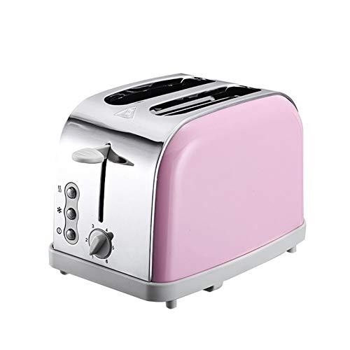 Toaster mit 2 extra breiten Schlitzen, die Top-Besten, Edelstahl mit hohem Hubhebel, 6-fach-Steuerung, herausnehmbarer Krümelschublade,Pink