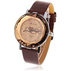 Brown glass dome 'love' ladies fashion watch