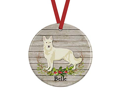 prz0vprz0v White German Shepherd Christmas Ornament, Personalized Dog Memorial Gifts Keepsake, 3