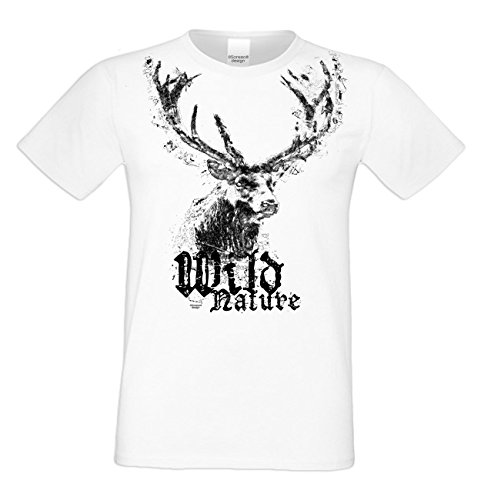 Herren Trachten T-Shirt mit Hirsch Motiv : Trachtenshirt für Oktoberfest Volksfest Freizeit : Wild Nature : Baumwolle : Übergrößen bis 5XL Farbe: weiss Gr: M