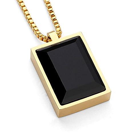 Kangqifen Schmuck Herren Damen Halskette,Edelstahl 18K Vergoldet/Rose Vergoldet/Stahlfarbe Edelstein Anhänger Halskette,Länge 50cm(Gold)