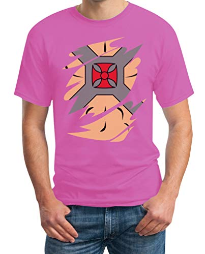 Kostüm Rosa Superheld - Karneval & Fasching Superhelden He Kostüm Man mit Perücke Herren T-Shirt Large Rosa