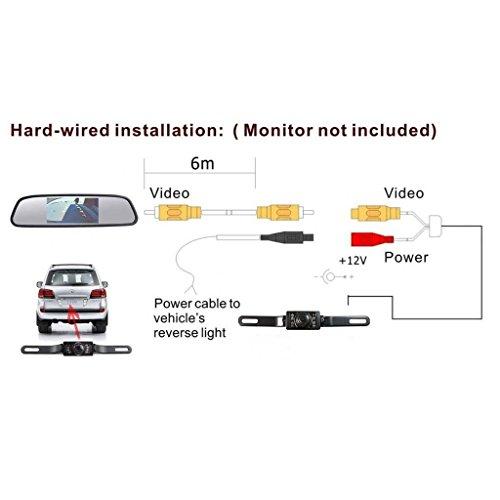 Dax-Hub TFT LCD ad alta risoluzione Video sensore di parcheggio di retrovisione Car System Backup Inversione Rilevatore di veicoli Monitor con fotocamera impermeabile LCD Monitor dinversione di soste 4.3Specchio parcheggio + Lunga Telecamera