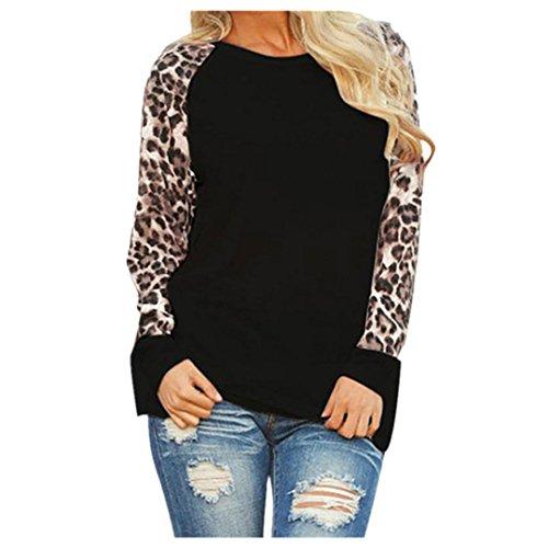 ❤️• •❤️Blusen Tops Luckycat Heißer Verkauf Mode Damen Shirts Blusen Tops Leopard Bluse Langarm Damenmode Damen T-Shirt Oversize Tops Shirts Blusen (Schwarz, M)