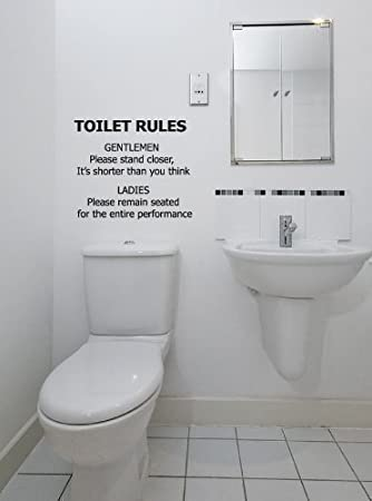 Toilet Rules Badezimmer Wand Aufkleber Abziehbild Grafik Lustige Neuheiten    Türkis Matte, Small