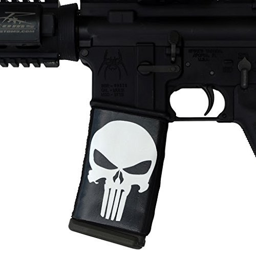 ultimate-arms-gear-2-pack-of-ar-mag-cover-socs-for-30rd-steel-aluminum-usgi-mags-punisher-black-whit