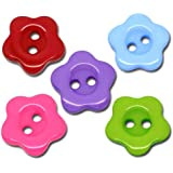 Pack of 25 Mixed Acrylic Flower (Red, Pink, Purple, Blue, Green) 14mm 2 Holes Buttons, for Sewing, Scrapbooking, Embelishments, Crafts, Jewellery making, Knitting