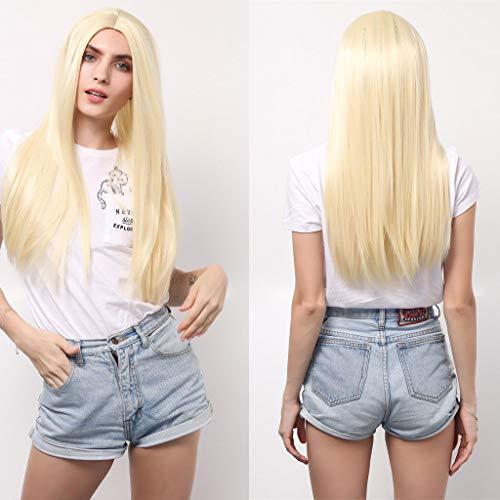 Kunsthaar Perücken Damen Gerade Perücke WQIANGHZI Haarperücken für Frauen Haarteil Blond Stilvoll Resistent Schön Hochwertig Verstellbar ()