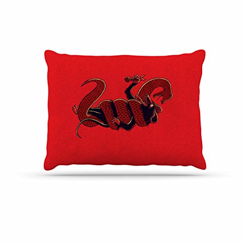 Kess InHouse Kess eigene barmalisirtb Breakfast Rot Gold Hundebett, 76,2x 101,6cm (Gold Frühstück Kissen)