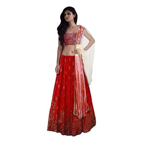 Indian Handicrfats Export Embroidered Semi Stitched Lehenga, Choli and Dupatta Set (Red) Dupatta Set