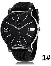 Relojes Hermosos, Hombres reloj v6 en Europa y América de moda relojes correa de lujo de silicona numeral romano ( Color : # 3 )