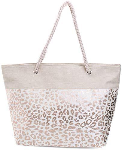 Faera Strandtasche mit glänzendem Streifen oder Leoparden-Muster XXL Shopper Beach Bag mit breiter Kordel Schultertasche, Taschen Farbe:Bronze (Family Beach Tote)