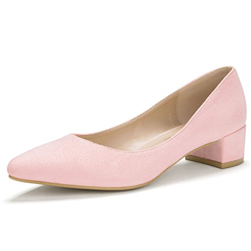 Allegra K Damen Spitzkopf niedrige kleine grobe Hacke klassisches Pumps Schuhe, Pink, EU 39