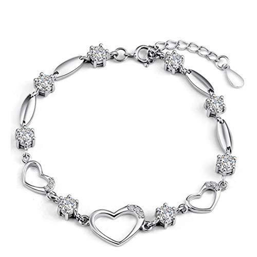 WANZIJING 925 Sterling Silber Armband, Mode Herzform Zirkon Gliederkette mit Verlängerungskette Schmuck Mädchen für besten Freund,Silver