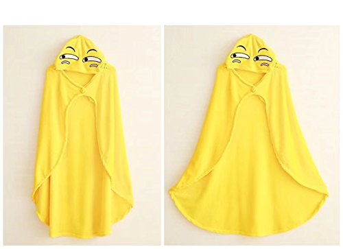 COSPLAZA Poncho con cappuccio Cape Coral Fleece Cloak Christmas Halloween Costume Outwear Coat Giallo