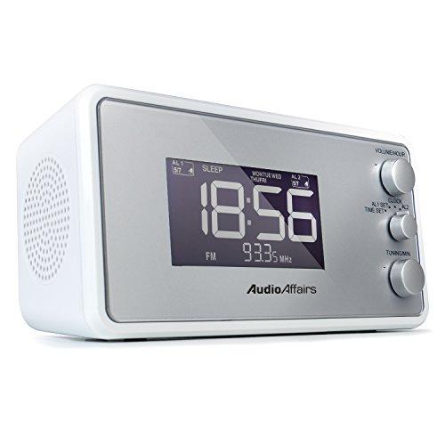 AudioAffairs Radiowecker mit PLL UKW Lautsprecher, 2 Weckzeiten mit Snooze-, Nap- und Sleep-Timer - Nur erhältlich auf Amazon.de