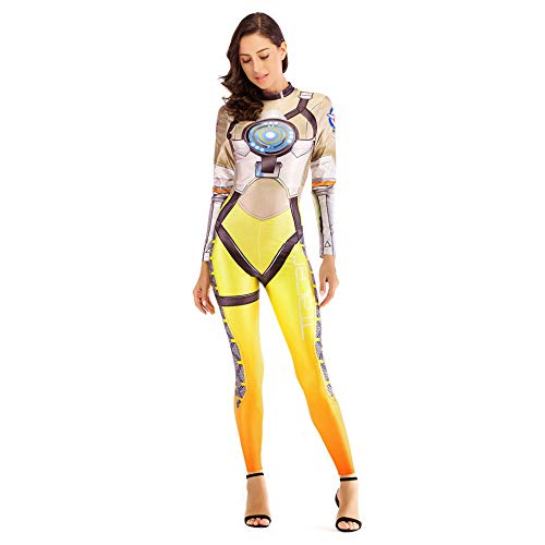 Unbekannt Overall Halloween Catsuit Damen Party Cosplay 3D Gedruckt Body Mit Zurück Reißverschluss Design Perfekt Schick Kleid Clubwear Karneval ()