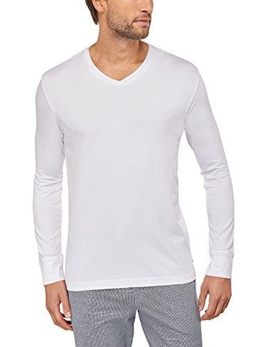 Schiesser Herren Mix & Relax Langarmshirt V-Ausschnitt Schlafanzugoberteil, (Weiss 100), Large (Herstellergröße: 052) (Nachthemd Herren Weiß)