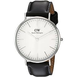 Daniel Wellington - Reloj analógico para caballero,correa de cuero negro, dial blanco