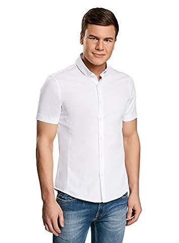oodji Ultra Herren Kurzarm-Hemd Basic, Weiß, 42cm / DE 52