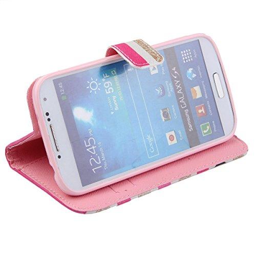 Coque pour Samsung Galaxy S4, ISAKEN Élégant Style PU Cuir Flip Magnétique Portefeuille Etui Housse de Protection Coque Étui Case Cover avec Stand Support pour Samsung Galaxy S4 SIV I9500 I9505 (#9) #11