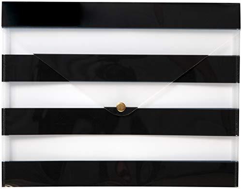 C.R. Gibson Black Striped Plastic Document Portfolio Case, 12.5
