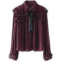 Las mujeres blusa de moda casual, europeos y americanos de viento y la corbata camisa,Foto color,L