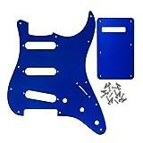 ikn Guitare électrique Strat Pickguard de plaque arrière, SSS 1avec 25Vis, effet miroir bleu
