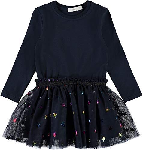 NAME IT Mädchen Sweatkleid mit Tüllrock Langarm NMFJASMIN, Größe:122/128, Farbe:Dark Sapphire