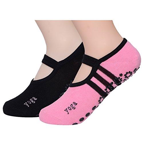 Paires de chaussettes antidérapantes en coton, pour femme, pour le yoga, ou le Pilates, de QBSM, Two Pair(black,pink)