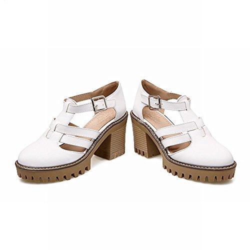 Mee Shoes Damen süß runde chunky heels Pumps Weiß