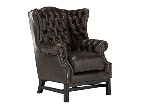 massivum Sessel Chesterfield Edington 88x104x87 cm aus Echt-Leder in braun Loungesessel