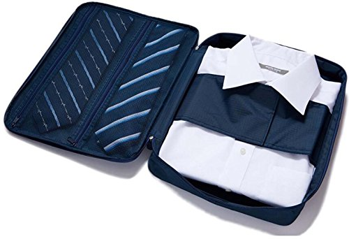 Shirt Tie Packing Garment Bag Organiser Wrinkle-free Travel Waterproof Neat Tidy Suitcase Storage Case(Navy Blue)