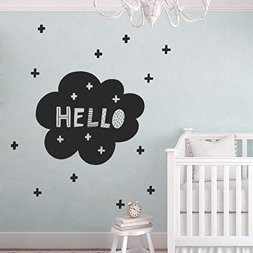Nette hallo wandtattoo skandinavischen kindergarten moderne wandtattoosnordic vinyl aufkleber für babys schlafzimmer selbstklebende Wandbilder 66X57cm - Hallo Wandtattoo
