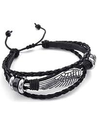 KONOV Bijoux Bracelet Homme - Rétro Aile, 18-23cm Réglable - Cuir - Alliage - Fantaisie - pour Homme et Femme - Chaîne de Main - Couleur Noir Argent - Avec Sac Cadeau
