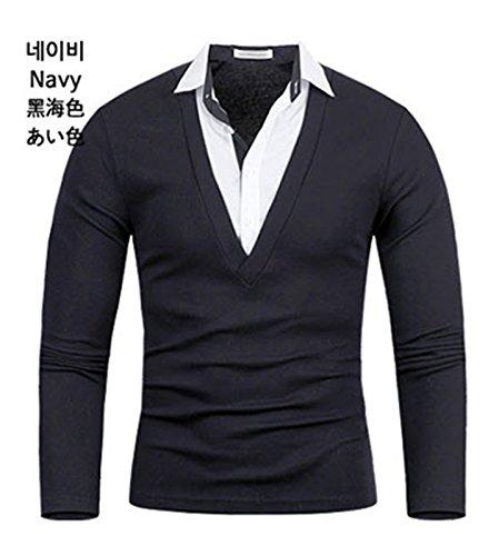 Herren Premium Woven Langarm Kragen / Poloshirts T-Shirts Polo Shirts Navy blue