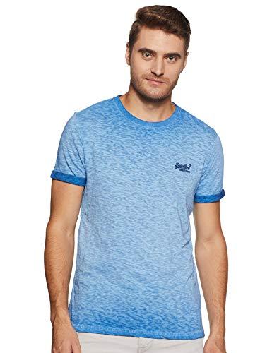 Blaues T-shirt Tasche (Superdry Herren Low Roller Tee T-Shirt, Blau (Harrington Navy Px2), Large (Herstellergröße: L))