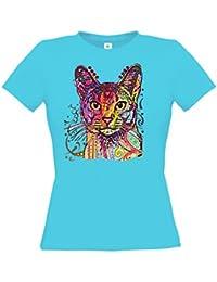Ethno Designs Streetwear - Abyssinian - Chat T-Shirt pour Femmes - Loisirs et Fête Shirt - slim fit