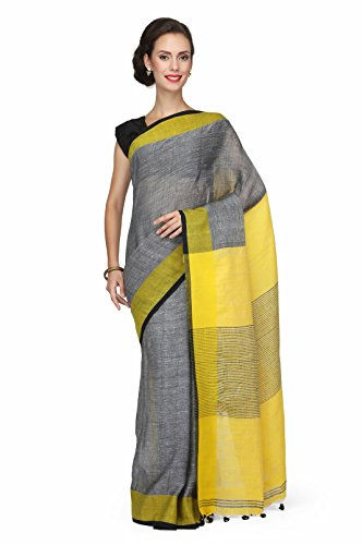 The Weave Traveller Handloom Women'S Pure Linen Saree With Blouse (Grey)