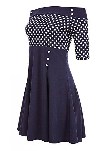 Laeticia Dreams Damen Petticoat-Kleid im Matrosen-Look S M L XL XXL, Größe:40, Farbe:Blau/Weiß Punkte Klein