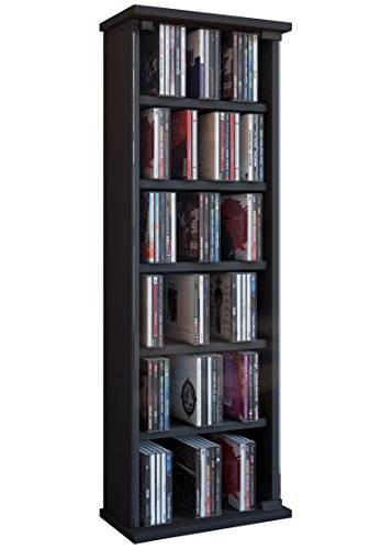 VCM 25201 Regal DVD CD Rack Medienregal Medienschrank Aufbewahrung Holzregal Standregal Möbel Vetro Schwarz 5-regal Bücherregal Bücherschrank