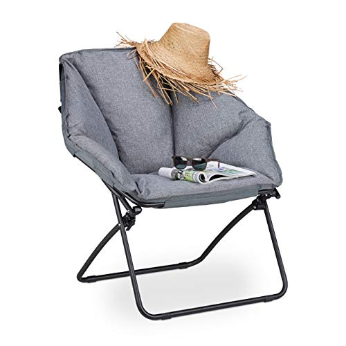 Relaxdays Moon Chair XXL, klappbarer Campingstuhl für In-& Outdoor, gepolstert, bis 100 kg, HBT 87 x 85 x 70 cm, grau