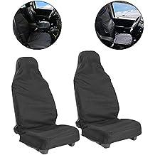 Goldbeing Juego de 2 fundas protectoras para los asientos delanteros del coche, perfectas para un taller, universales y de nailon, color negro